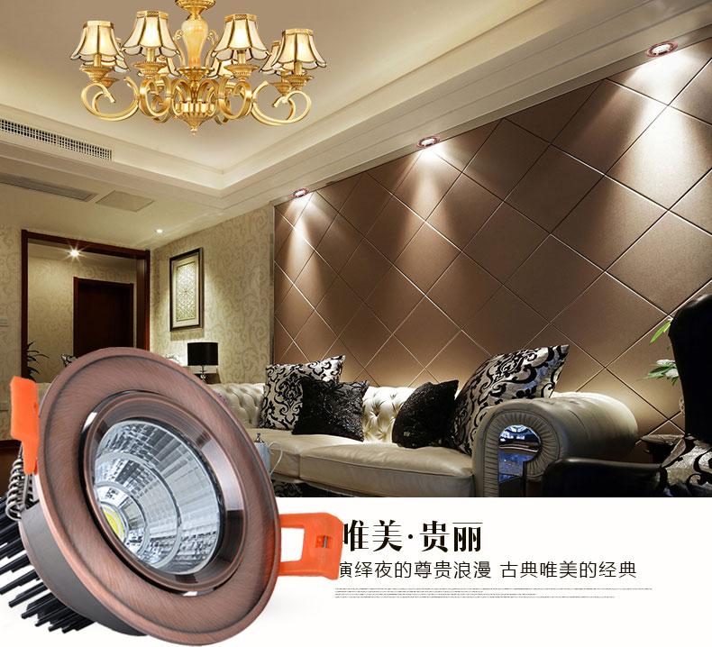 led欧式天花射灯家居客厅装饰照明使用